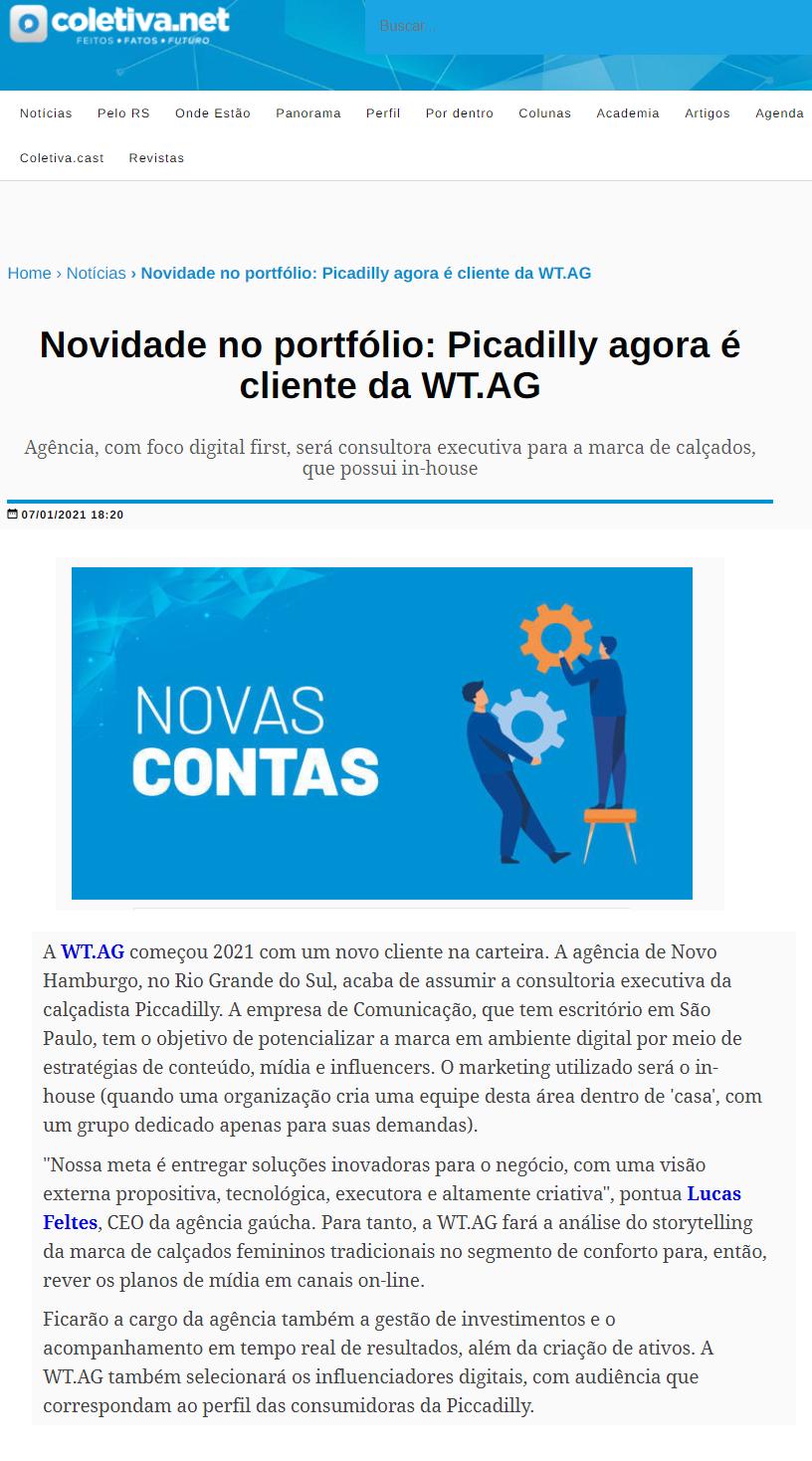 07_01 - Coletiva.net - WT.AG - Online - Novidade na carteira