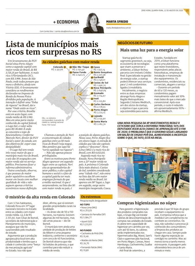 11_08_2020 - Zero Hora - Impresso - Edsun - Parceria entre startup e imobiliária facilita instalação de energia solar em condomínios