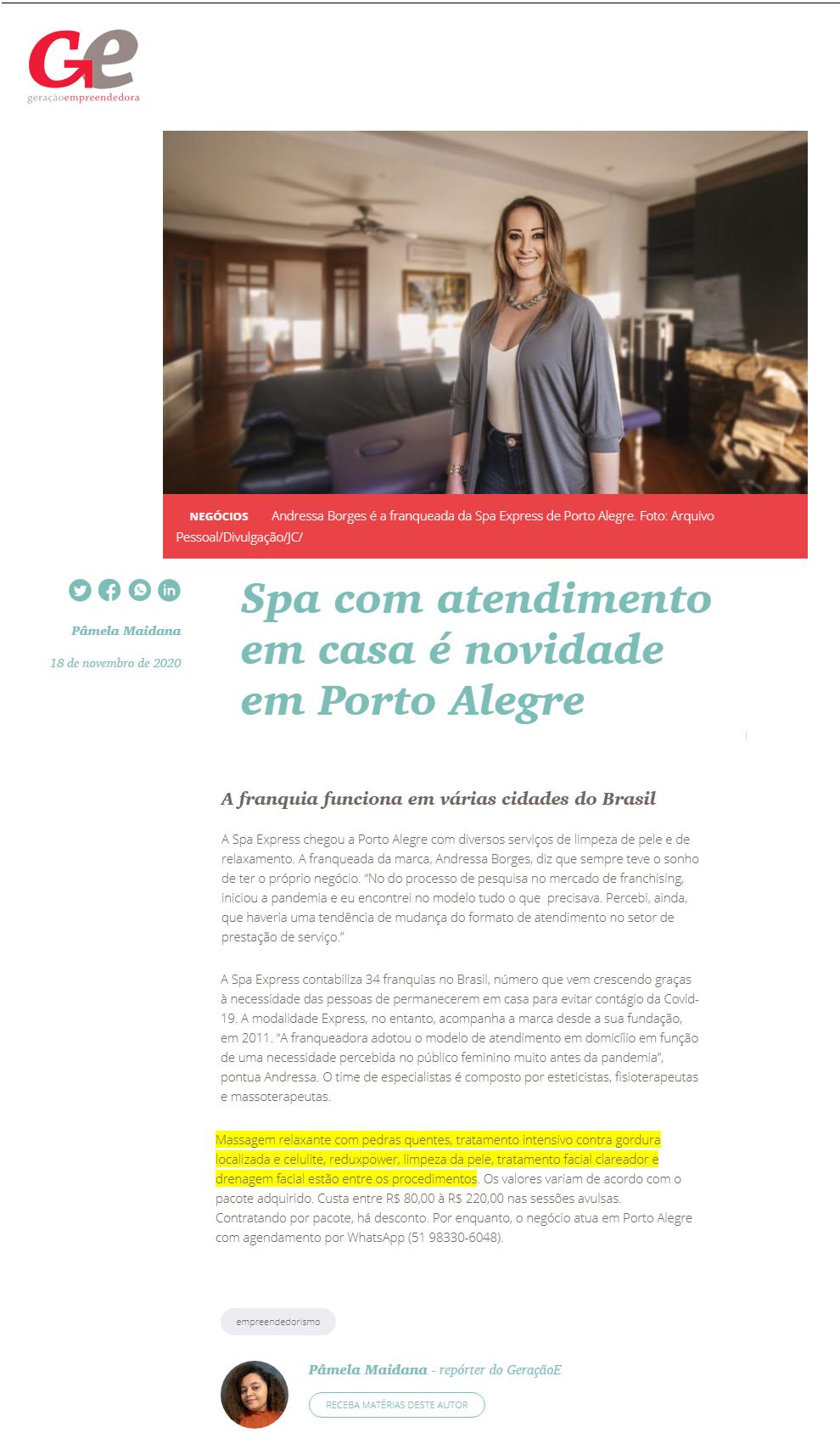 18_11 - Jornal do Comércio - Geracao E - Online - SPA Express