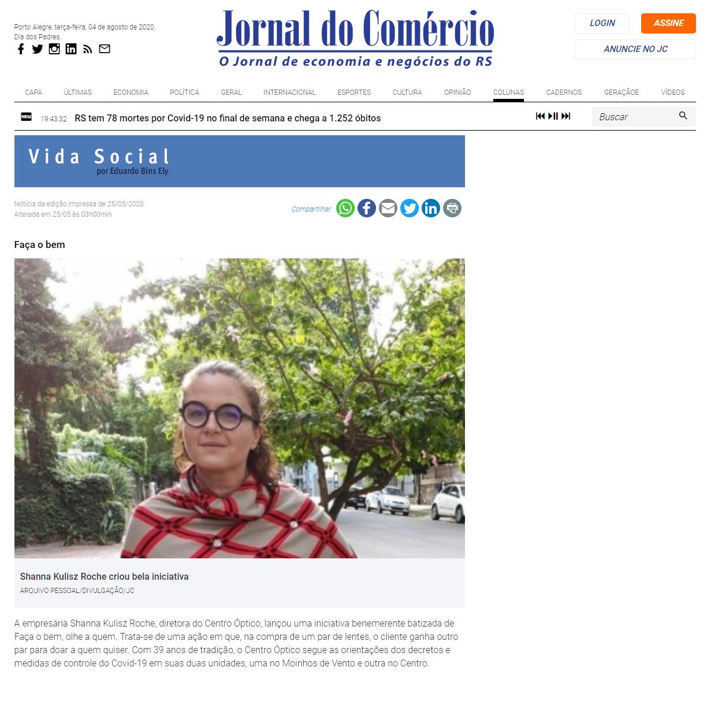 25_05_2020 - Jornal do Comércio - Online - Vida Social - Eduardo Bins Ely - Centro Óptico
